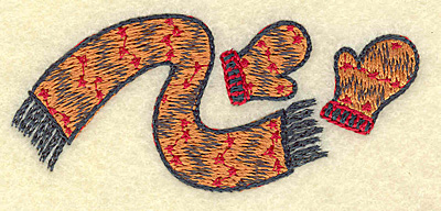 Embroidery Design: Scarf and mittens B 3.50w X 1.52h