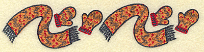 Embroidery Design: Scarf and mittens pair B6.88w X 1.52h