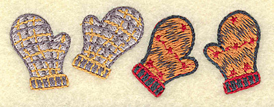 Embroidery Design: Mittens pair 3.37w X 1.19h