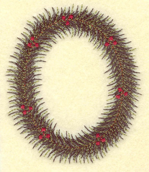 Embroidery Design: Christmas wreath oval 3.17w X 3.75h