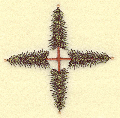 Embroidery Design: Pine tree cross 3.88w X 3.88h