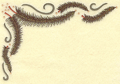 Embroidery Design: Pine tree corner large 6.98w X 4.80h