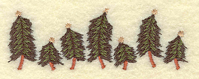 Embroidery Design: Christmas tree row 3.47w X 1.20h