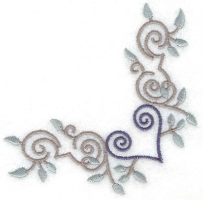 Embroidery Design: Swirls heart and leaves corner 3.87w X 3.87h