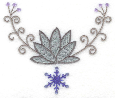 Embroidery Design: Swirl design with snowflake 3.87w X 3.27h