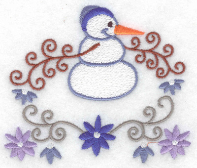 Embroidery Design: Snowman 7 small with flowers 3.88w X 3.31h
