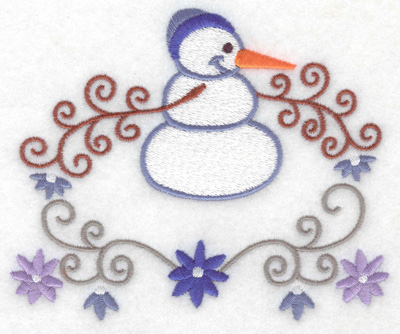 Embroidery Design: Snowman 7 large with flowers 4.99w X 4.13h