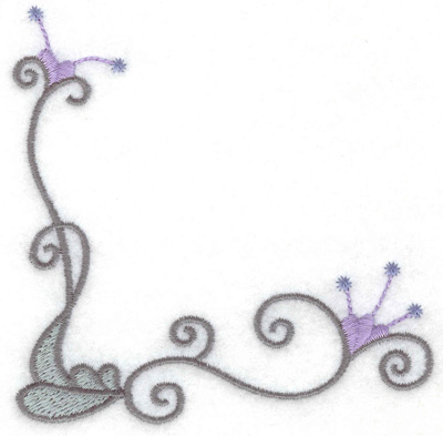 Embroidery Design: Swirls and leaf 3.86w X 3.88h