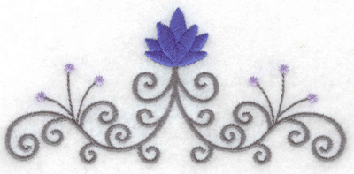Embroidery Design: Swirl leaf design 4.99w X 2.33h