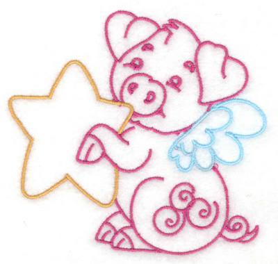 Embroidery Design: Flying pig with star small 3.87w X 3.68h