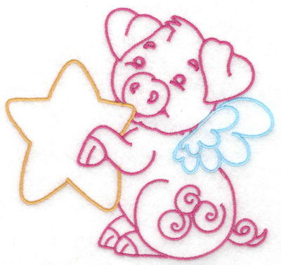 Embroidery Design: Flying pig with star large 4.95w X 4.70h
