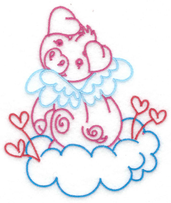 Embroidery Design: Flying pig on heart studded cloud large 4.20w X 4.92h