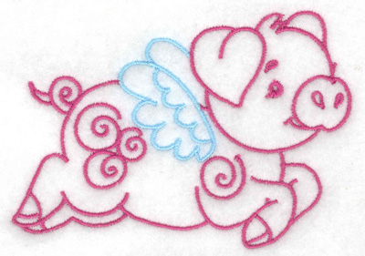 Embroidery Design: Flying pig small 3.85w X 2.78h