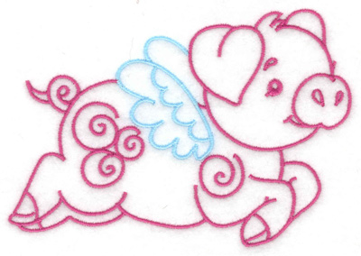 Embroidery Design: Flying pig large 4.93w X 3.55h