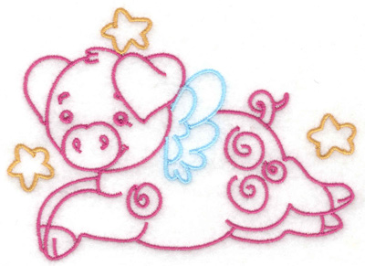 Embroidery Design: Flying pig and stars large 4.93w X 3.59h