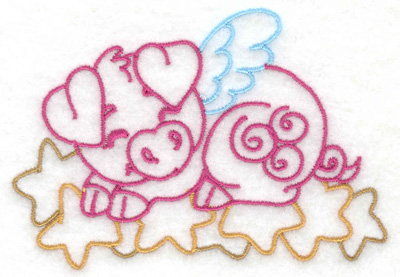 Embroidery Design: Flying pig on stars small 3.86w X 2.67h