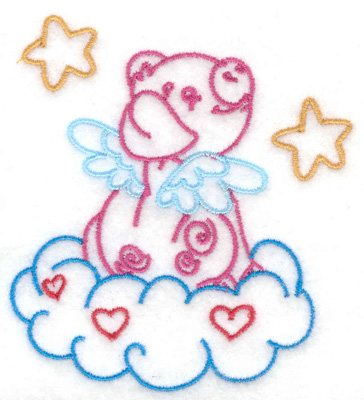 Embroidery Design: Pig sitting on cloud 3.06w X 3.37h