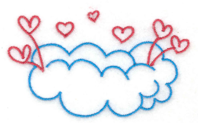 Embroidery Design: Hearts on a cloud 3.34w X 2.01h