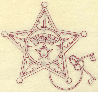Embroidery Design: Sheriff badge large 6.51w X 6.11h