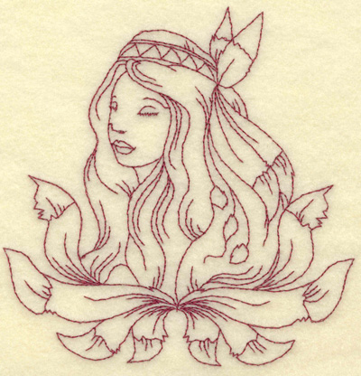 Embroidery Design: Indian princess medium 4.89w X 4.99h