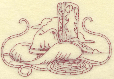 Embroidery Design: Cowboy hat boot and rope medium 6.55w X 4.39h