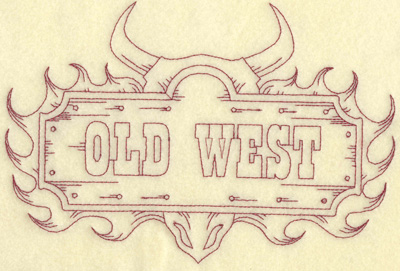 Embroidery Design: Old West sign large 9.00w X6.12h