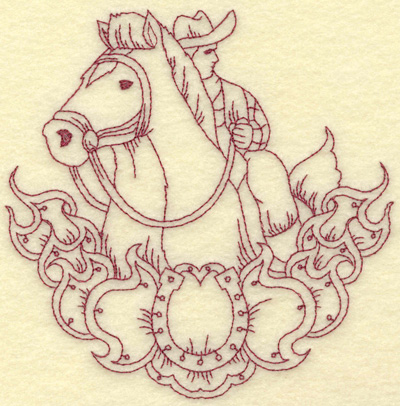 Embroidery Design: Horse and rider small 5.25w X 5.29h