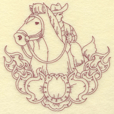 Embroidery Design: Horse and rider large 8.76w X 8.82h