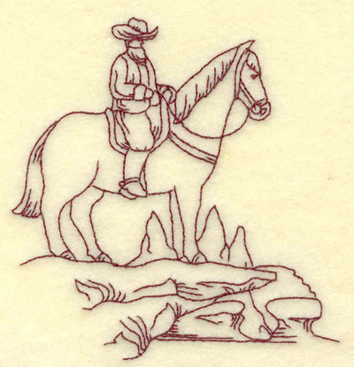 Embroidery Design: Cowboy on horse small 3.66w X 3.81h