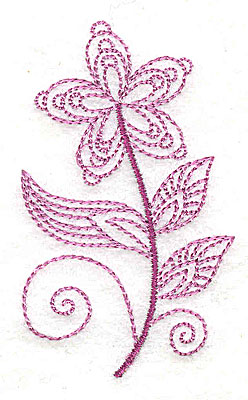 Embroidery Design: Whimsical Flower 7 1.83w X 3.05h