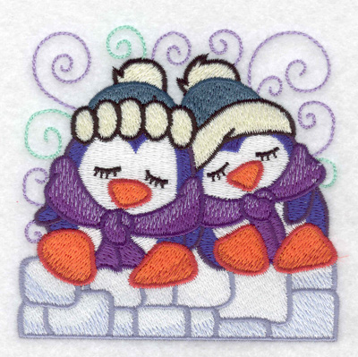 Embroidery Design: Two penguins sleeping small 3.86w X 3.82h