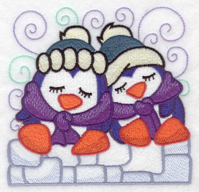 Embroidery Design: Two penguins sleeeping large 4.94w X 4.88h