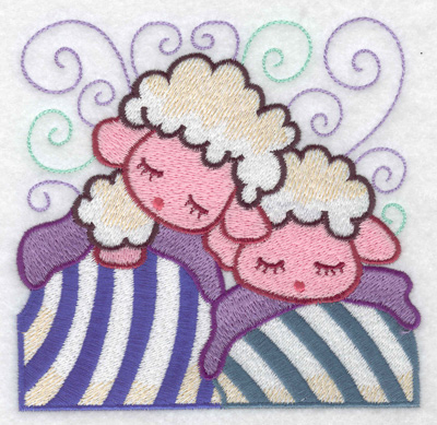 Embroidery Design: Two lambs sleeping large 4.97w X 4.84h