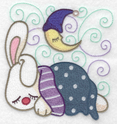 Embroidery Design: Bunny sleeping large 4.64w X 4.90h