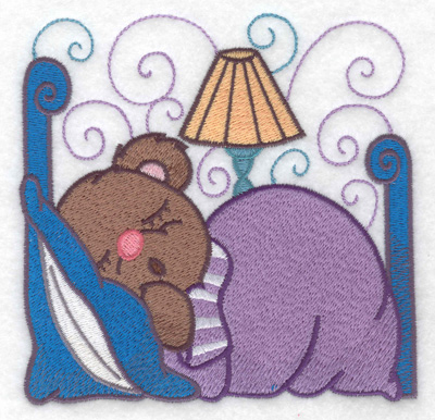 Embroidery Design: Teddy sleeping large  4.93w X 4.86h