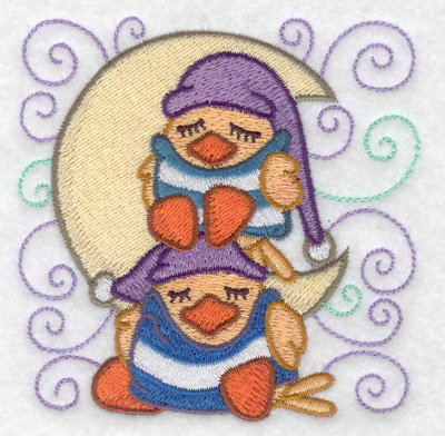 Embroidery Design: Stacked ducks sleeping small 3.81w X 3.86h