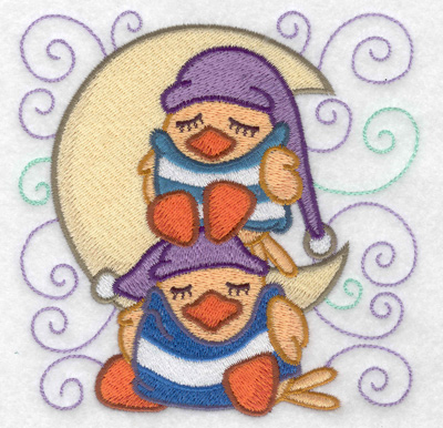 Embroidery Design: Stacked ducks sleeping small 4.87w X 4.94h