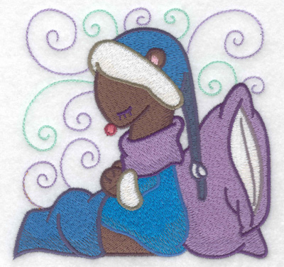 Embroidery Design: Weasel sleeping large 4.96w X 4.80h