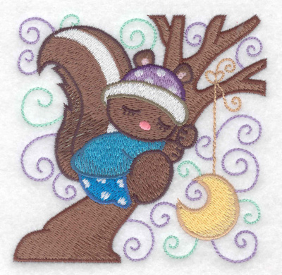 Embroidery Design: Squirrel sleeping in a tree small 3.87w X 3.87h
