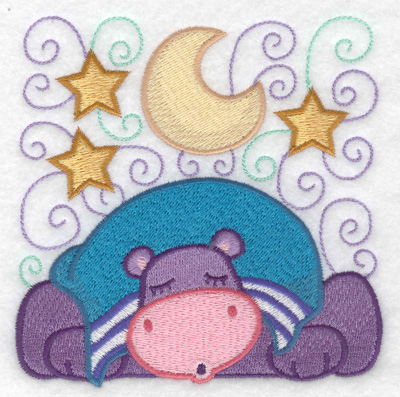 Embroidery Design: Hippo sleeping large 4.84w X 4.93h