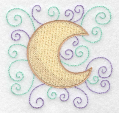 Embroidery Design: Moon with swirls 3.83w X 3.78h