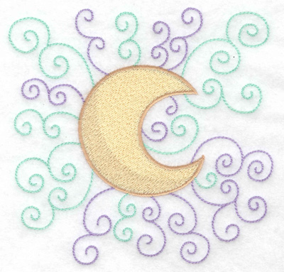 Embroidery Design: Moon with swirls large 4.96w X 4.88h