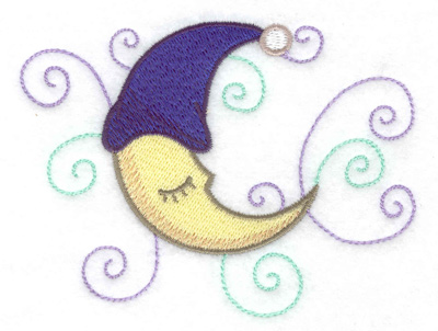 Embroidery Design: Moon with nightcap 4.31w X 3.27h
