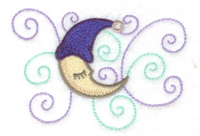 Embroidery Design: Moon with nightcap small 3.53w X 2.35h