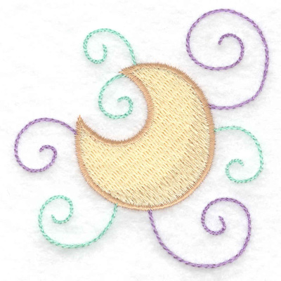 Embroidery Design: Moon and swirls 2.88w X 3.00h