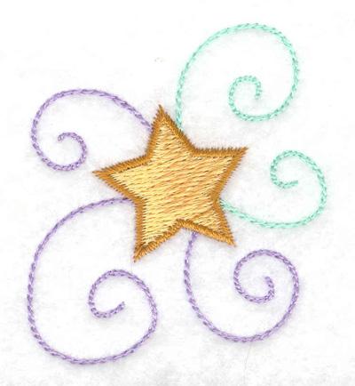 Embroidery Design: Star and swirls 2.08w X 2.45h