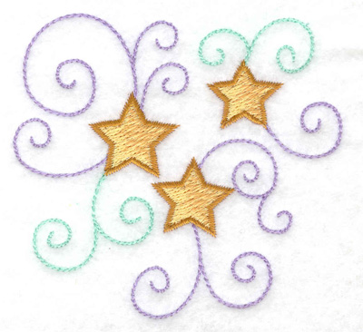 Embroidery Design: Trio of stars and swirls 3.25w X 3.31h