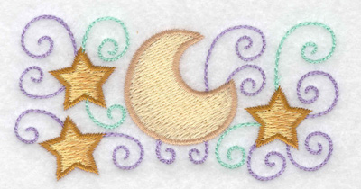 Embroidery Design: Stars moon and swirls 3.78w X 1.98h