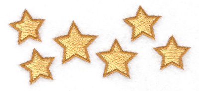Embroidery Design: Stars in a row 3.86w X 1.63h