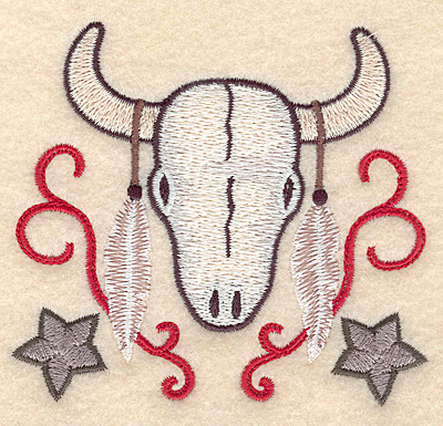 Embroidery Design: Longhorn skull with feathers 3.83w X 3.48h